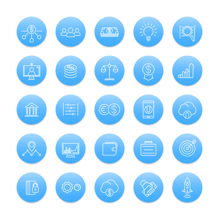 hedge: Venture capital line icons, investments, risk assessment, forex, hedge fund, startup company, round blue icons set Illustration