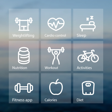active lifestyle: Fitness thick line icons, fit and active lifestyle, strength training, workout, vector pictograms on transparent squares