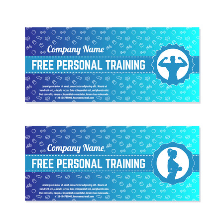 Free personal training, gift voucher for gym, fitness center, modern template