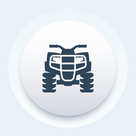quad: quad bike icon, atv, all terrain vehicle, quadricycle round pictogram