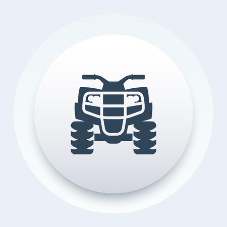 atv: quad bike icon, atv, all terrain vehicle, quadricycle round pictogram