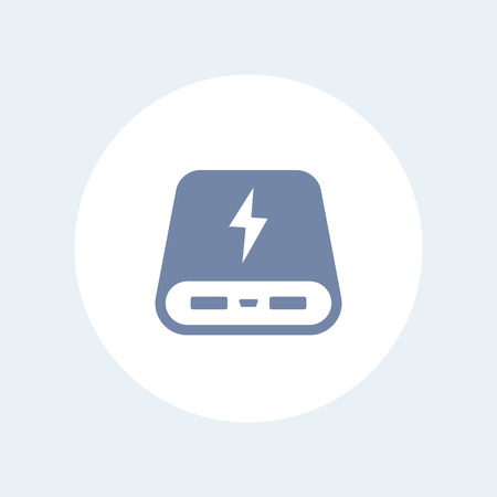 mobile devices: power bank icon, portable charger for mobile devices, isolated on white