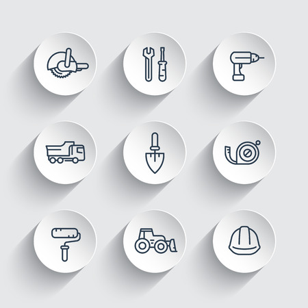 construction line icons, equipment and tools, trowel, tape-measure, roller, drill, bulldozer, truck