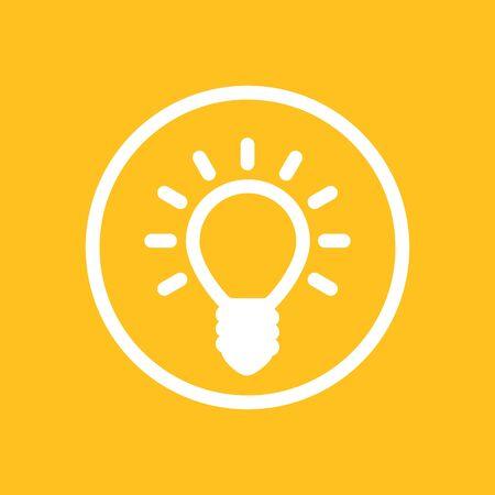 shining light: Shining light bulb icon in circle