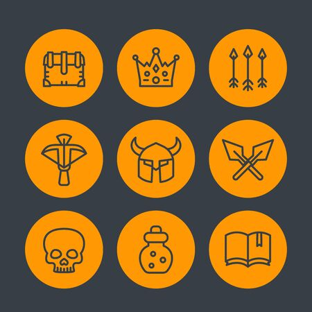 crossbow: Game line icons set 2, RPG, crossbow, chest, arrows, crown, potion, medieval, fantasy, vector illustration