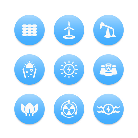 energy production: Power, energy production icons, nuclear, solar, wind, water energetics