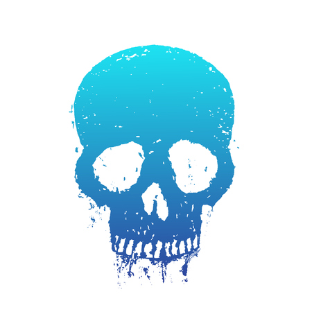 halloween tee shirt: t-shirt print with blue skull on white