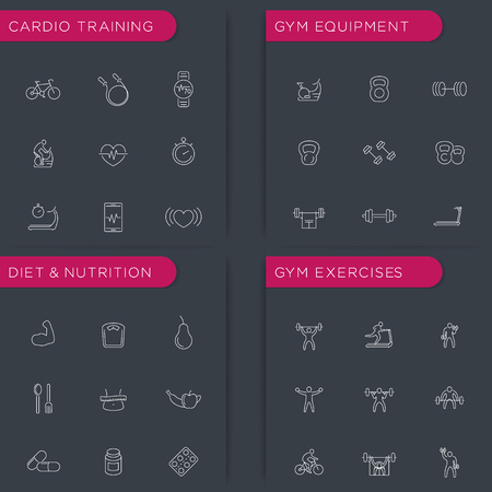 cardio workout: Fitness, Bodybuilding, Gym equipment, Diet, Cardio training, Workout, thin line icons set