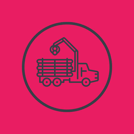 logger: Forwarder icon, forestry vehicle, logger, logging truck line pictogram, vector illustration