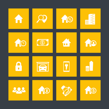 occupant: Real estate icons on squares, house sale, search, apartments, vector illustration