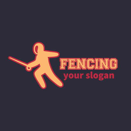 fencing foil: Fencing logo element, attacking fencer with foil on dark