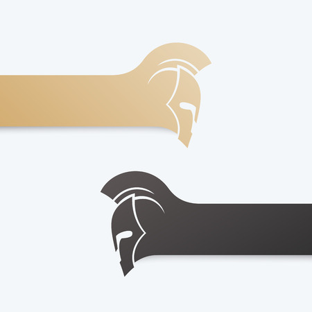 Spartans logo with warrior helmet with mohawk in gold and black