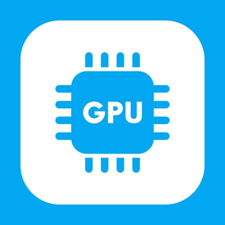 gpu: GPU icon on white, graphics processing unit