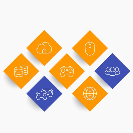 cooperativismo: videojuegos, cooperativo, multijugador, iconos de la línea de la consola de juegos en formas romboidales