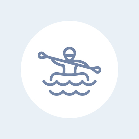 rower: Rafting line icon on white Illustration
