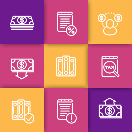 tax accountant: Bookkeeping line icons, payroll, tax, cost, accountant, transactions, vector illustration Illustration