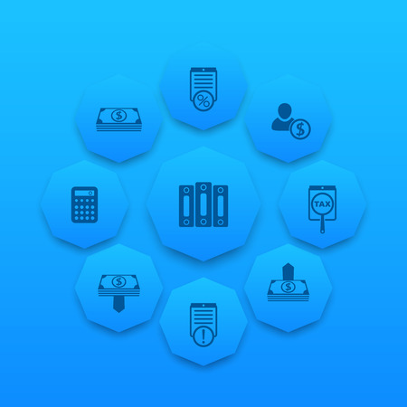 mortgage rates: Bookkeeping, finance, payroll, rates icons on blue octagon shapes, vector illustration