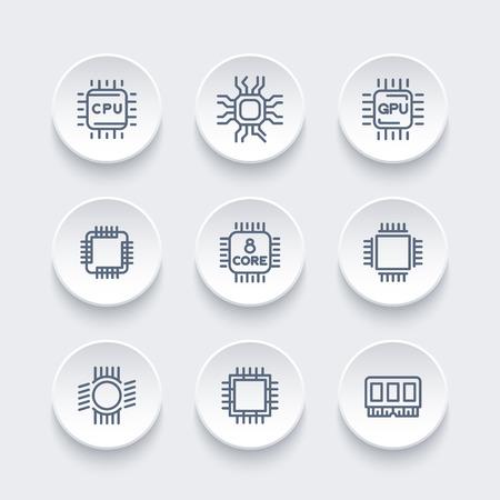 gpu: Chipset, cpu line icons set, microchip, gpu, multi-core processor Illustration