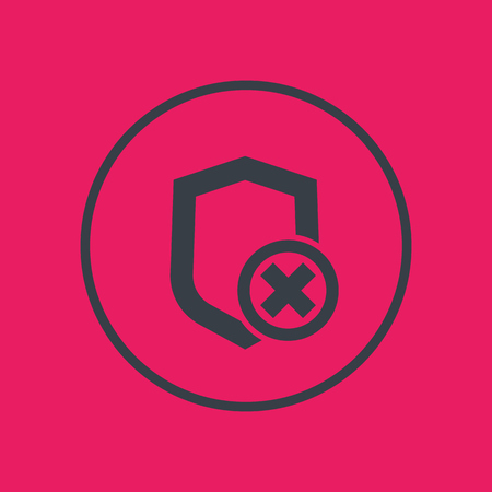 Shield icon in circle, unsecure, unprotected, security removed symbol, vector illustration