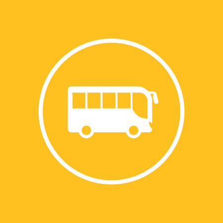 schoolbus: bus icon in circle, side view, vector illustration