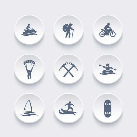 skydiving: extreme outdoor activities icons set, rafting, skydiving, mountaineering, sailing, surfing, racing, vector illustration