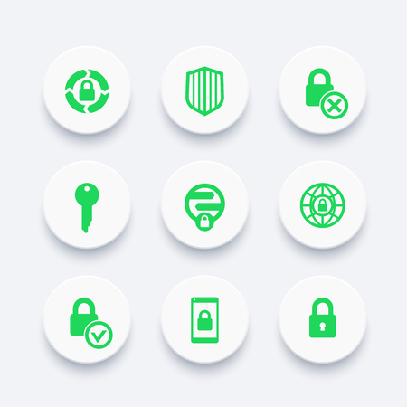 unprotected: Security icons set, secure transaction, unprotected, key, lock, shield, online security