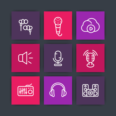 earbuds: audio line icons on squares, microphones, earbuds, headphones, speakers, music in cloud