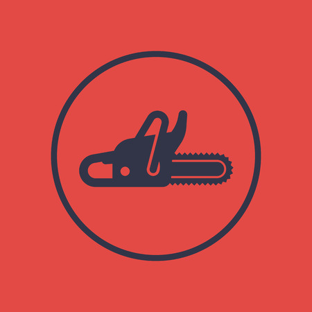 Chainsaw icon in circle, vector pictogram, vector illustration Illustration
