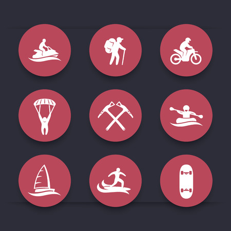 outdoor activities: extreme outdoor activities round icons set, skydiving, mountaineering, sailing, surfing, racing