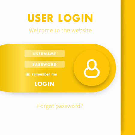 website window: User Login window, login page design for website in yellow and white Illustration