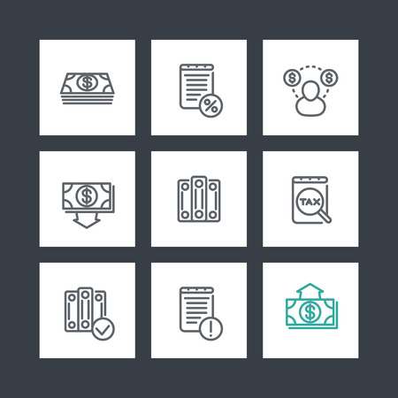 tax accountant: Bookkeeping line icons set, tax, payroll, cost, accountant, transactions Illustration