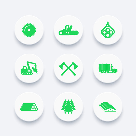 Logging, forestry equipment icons, sawmill, tree harvester, timber, logging truck, lumber
