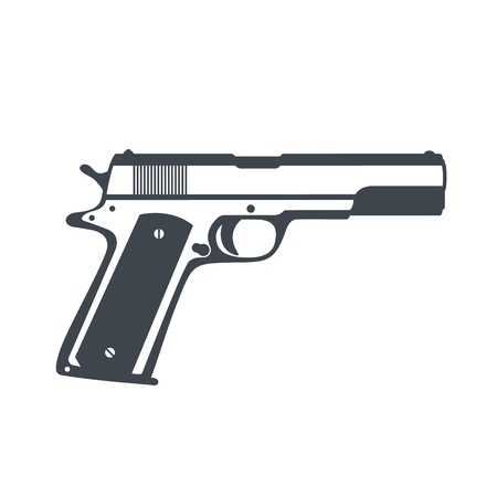 classic semi-automatic pistol, handgun isolated on white, vector illustration