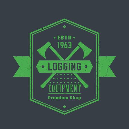 axes: Logging equipment, lumber shop vintage logo, emblem with lumberjacks axes, vector illustration