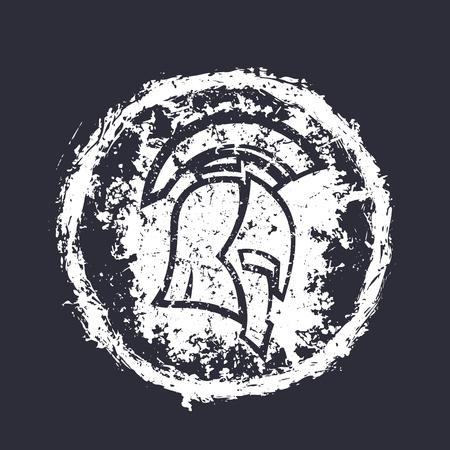 grunge spartan helmet, round white t-shirt print Çizim