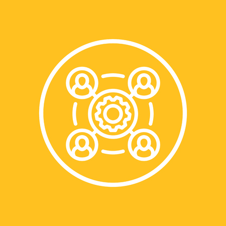 outsourcing line icon in circle, vector illustration