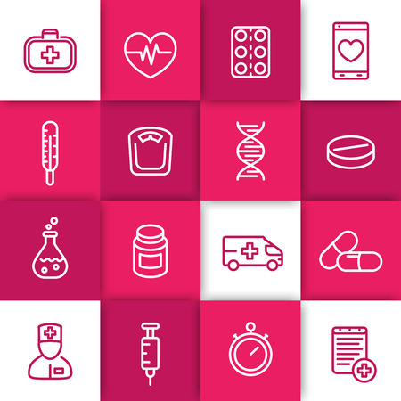 pharmaceutics: medicine line icons set, health care, therapy, pharmaceutics, drugs, medicine chest, thermometer
