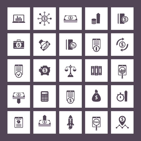 investing: 25 finance icons set, investing, shares, stocks, money, funds, investment, income, financial instruments