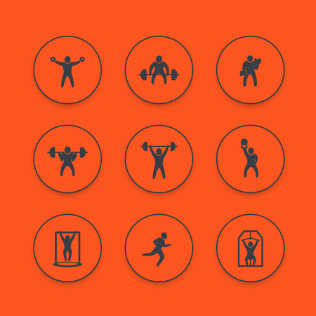 Gym, fitness exercises icons set, workout, weightlifting, training pictograms, vector illustration