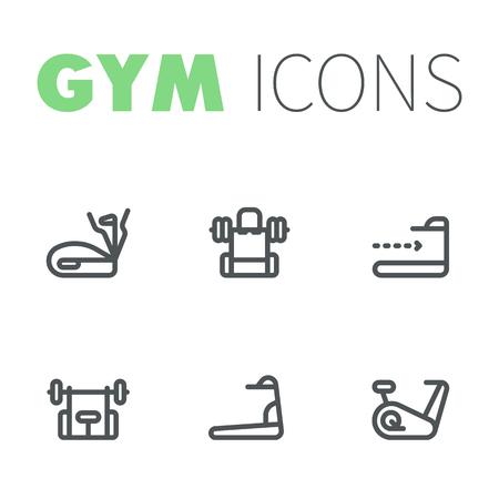 Gym icons, linear pictograms, vector illustration Ilustração