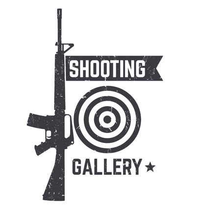 Shooting Gallery logo, sign with automatic rifle over white, texture can be removed Illustration