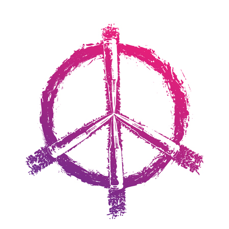 dualistic: Peace sign with bullets, t-shirt print, violet on white Illustration