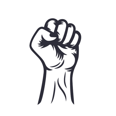 fist held high outline, protest symbol on white, vector illustration