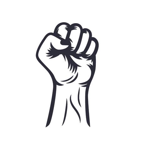 held: fist held high outline, protest symbol on white, vector illustration