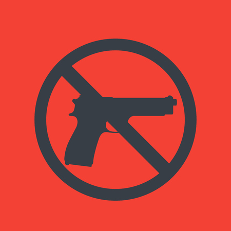 no guns sign, pistol silhouette, no weapons allowed Illustration