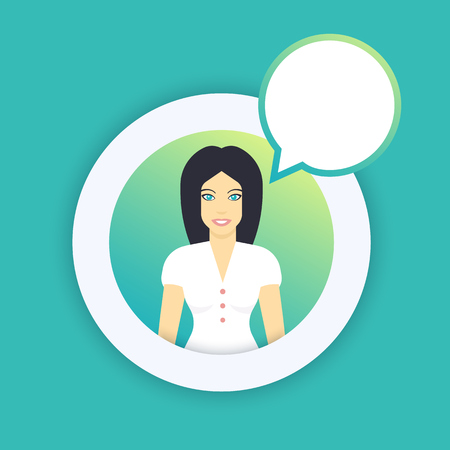 flat style female character with round speech bubble, long-haired girl in white, vector illustration