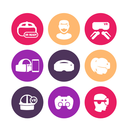 compatible: virtual reality, VR headset, glasses round icons on white Illustration
