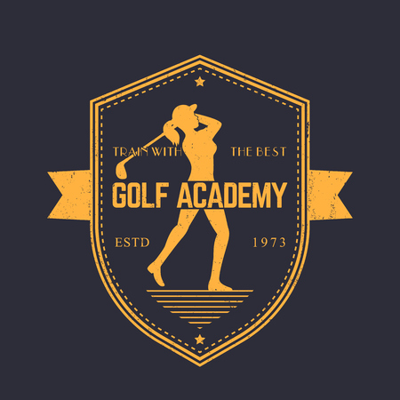 mujer golpeada: Golf Academy vintage emblem, logo with female golfer with golf club