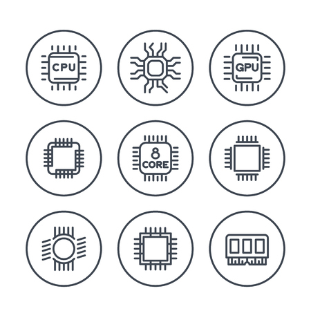 gpu: Chipset, cpu line icons in circles, microchip, gpu, 8 core processor