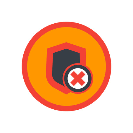 Shield icon, unsecure, unprotected, security removed round pictogram